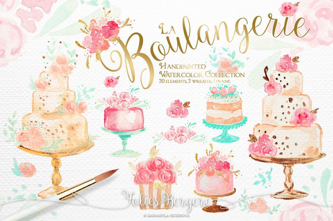 Bakery clipart watercolor. Wedding cakes floral karamfilas