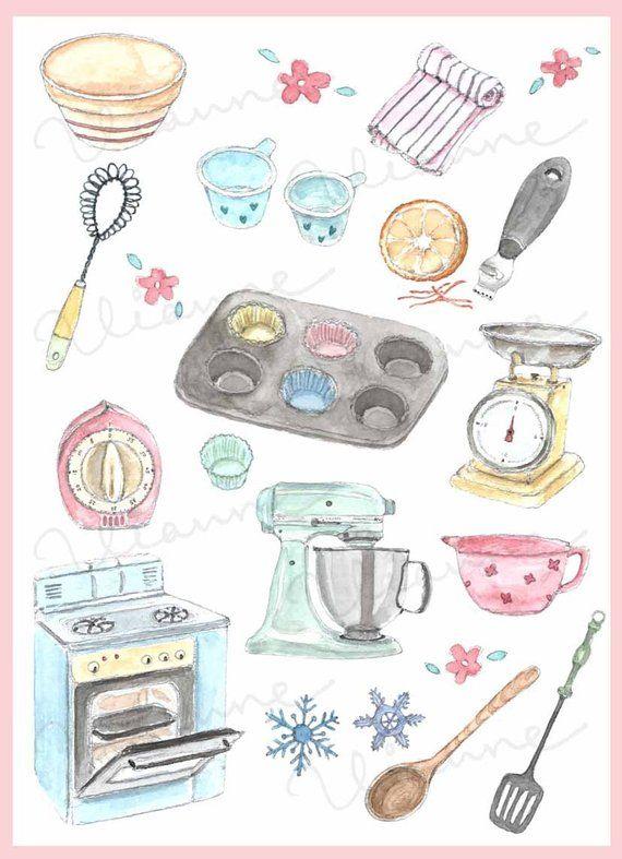Clip art vintage accessories. Baking clipart watercolor