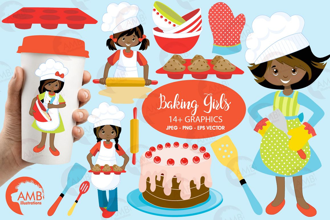 Baking clipart. Cooking girl c design
