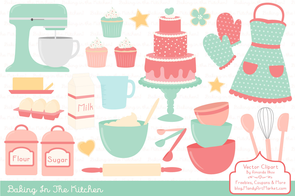 Vector Baking Clipart in Mint