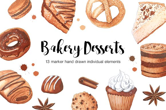 Baking clipart baked goody. Marker bakery goods drawing
