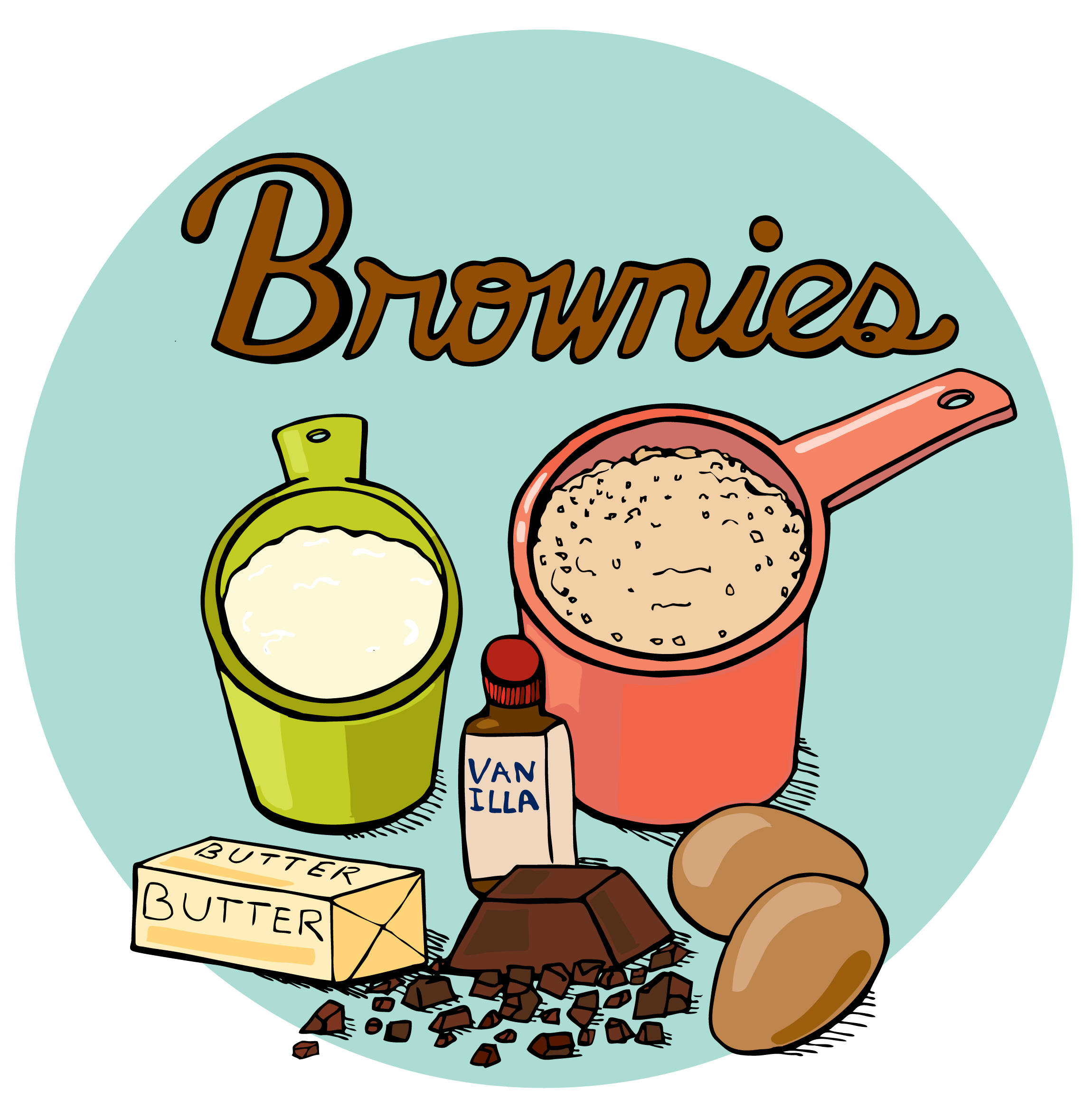 Brownies illustrated bites hey. Baking clipart baking brownie