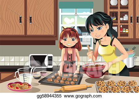 Baking clipart baking cookie. Eps vector mother daughter