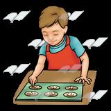Baking clipart baking cookie. Abeka clip art boy