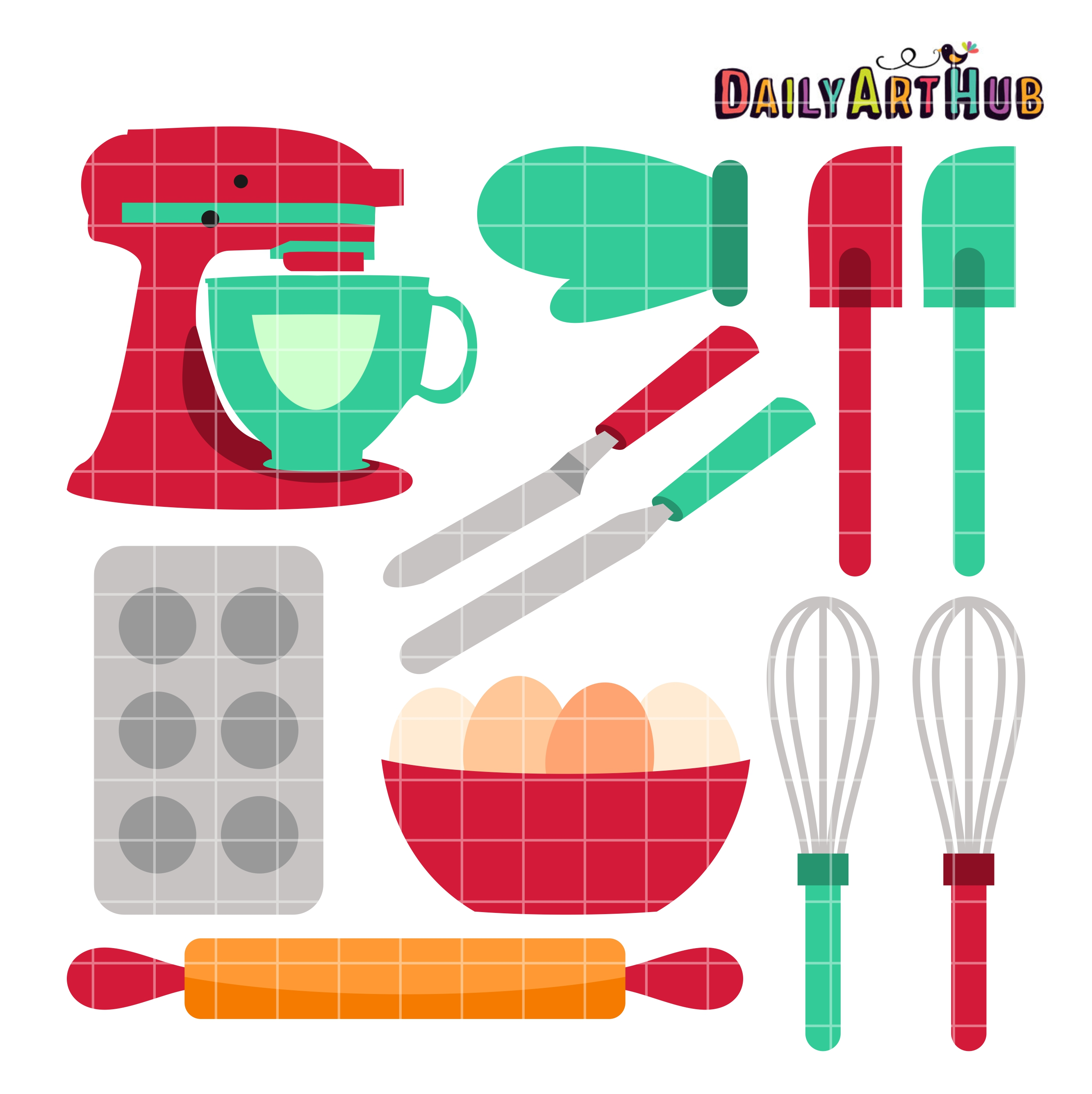 Baking clipart baking equipment. Tools clip art set