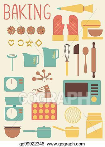 Baking clipart baking equipment. Vector illustration tools flat