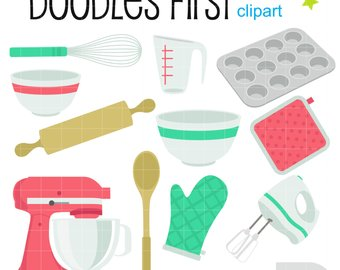 Etsy kitchen objects digital. Baking clipart baking equipment