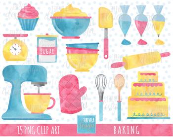 Cake cupcake watercolor kitchen. Baking clipart baking supply