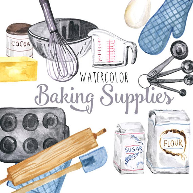 Baking clipart baking supply. Watercolor supplies culinary clip
