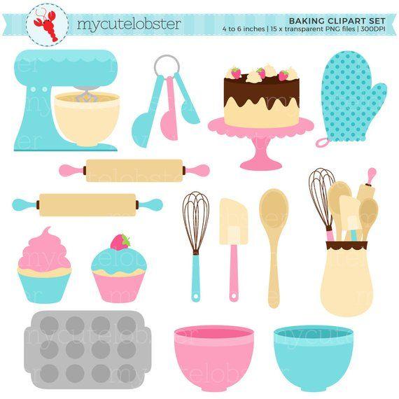 Baking clipart baking supply. Set clip art of