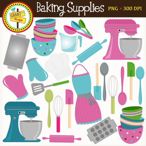 Baking clipart baking supply. Supplies cute clip art