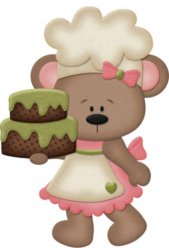 Girls cooking clip art. Baking clipart bear