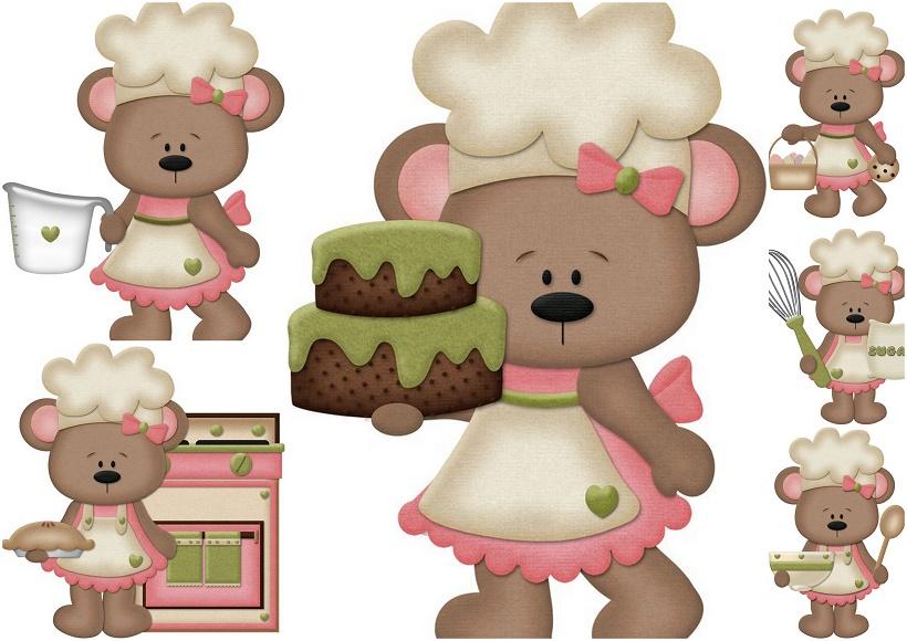 Baking clipart bear. Girls cooking clip art