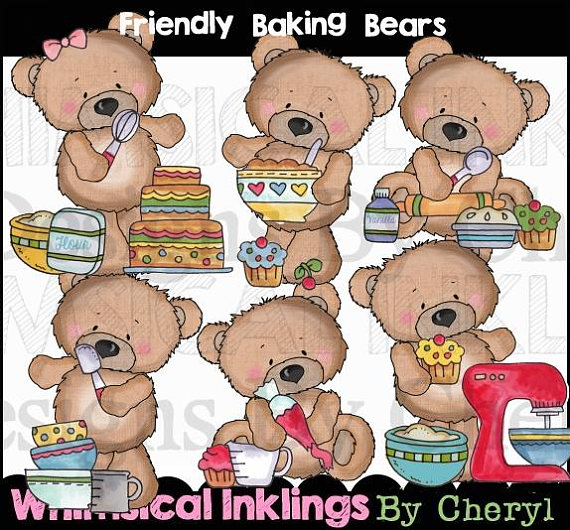 Baking clipart bear. Shower instant download
