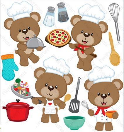 Clip art teddy pinterest. Baking clipart bear