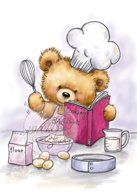 Baking clipart bear. Teddy cooking day pinterest