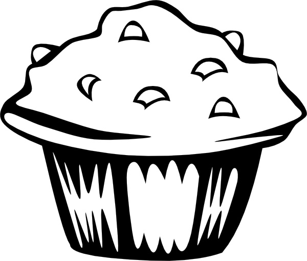 B and w clip. Baking clipart blueberry muffin