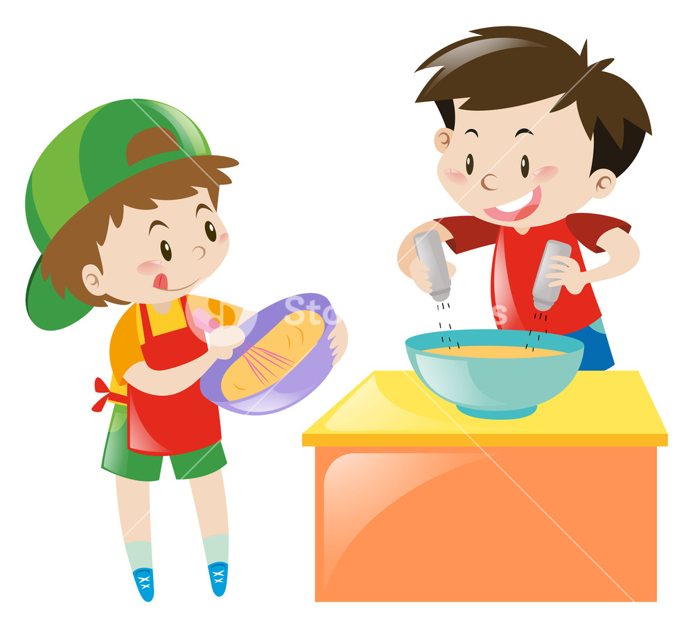 Baking clipart boy. Two boys cooking and