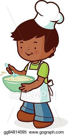 Vector stock african chef. Baking clipart boy
