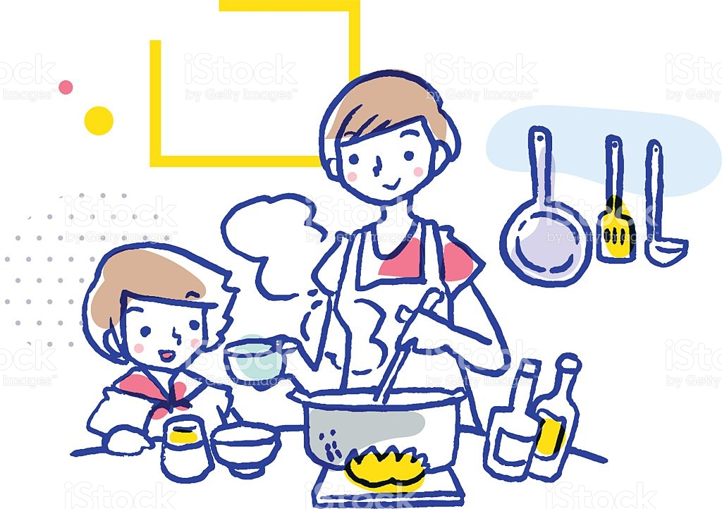 Child helping mother in. Baking clipart boy