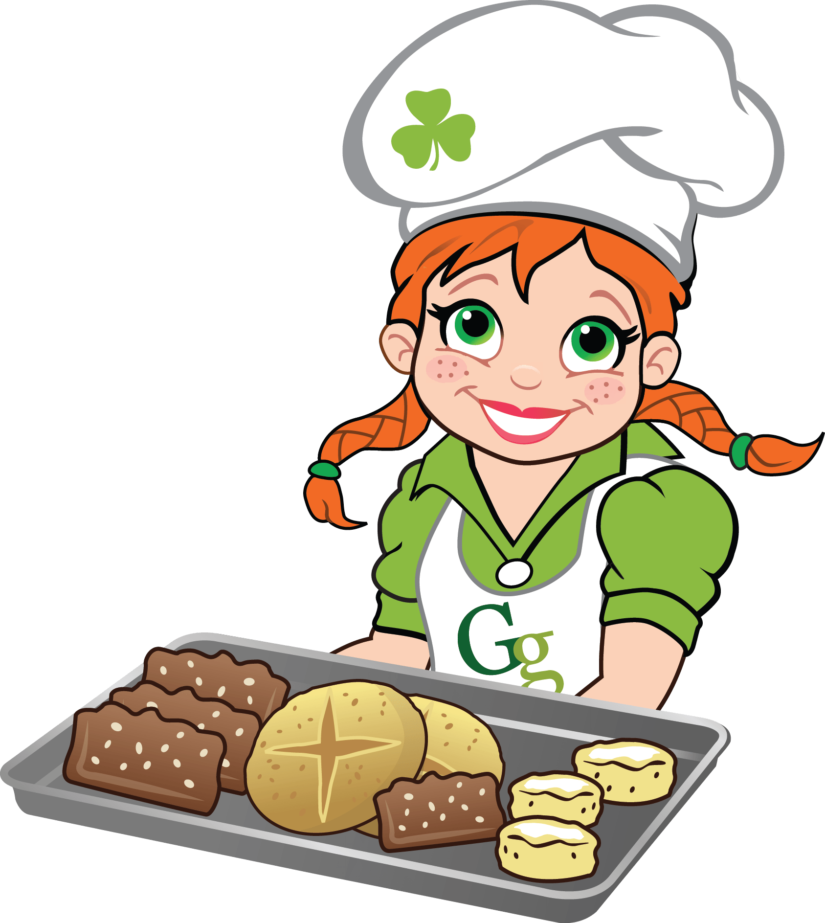 Introducing gaelic girl mixes. Baking clipart bread