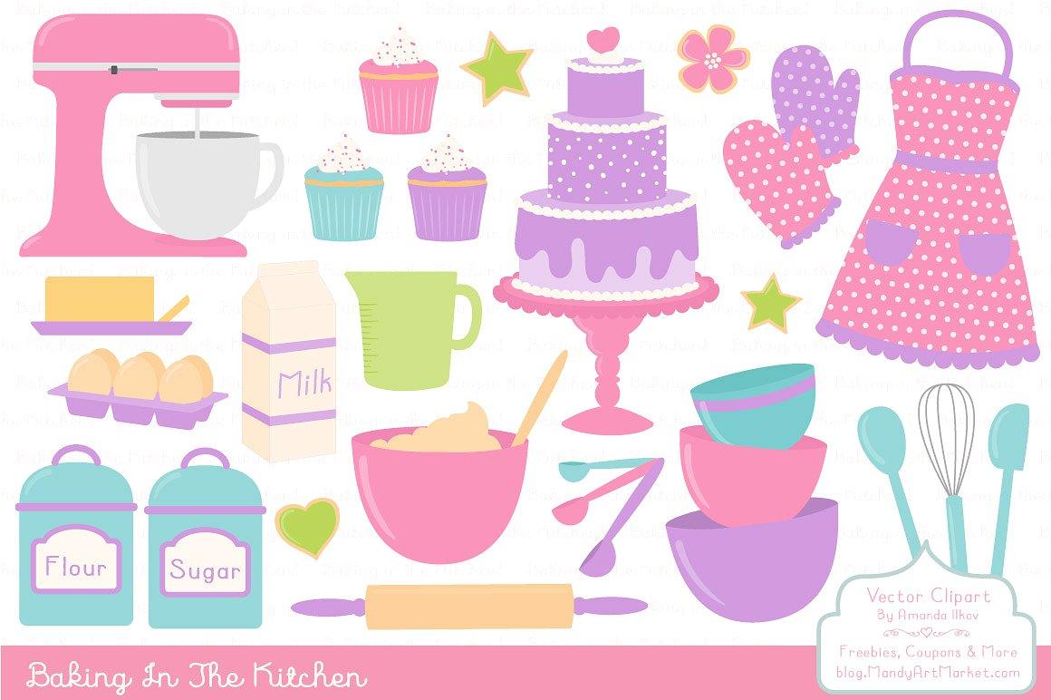 Girls vectors illustrations creative. Baking clipart cake baking
