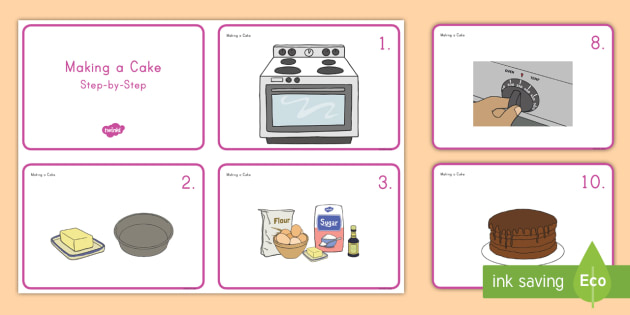 Making a sequencing cards. Baking clipart cake baking