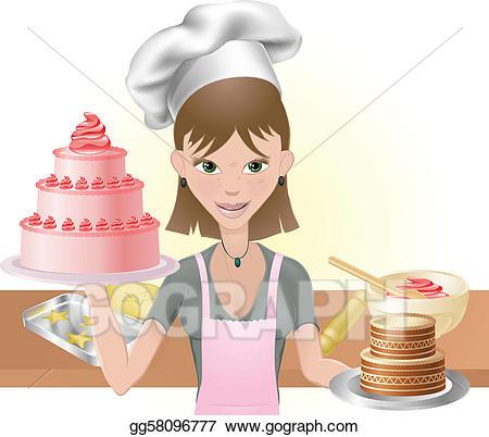 Baking clipart cake baking. Vector stock young woman