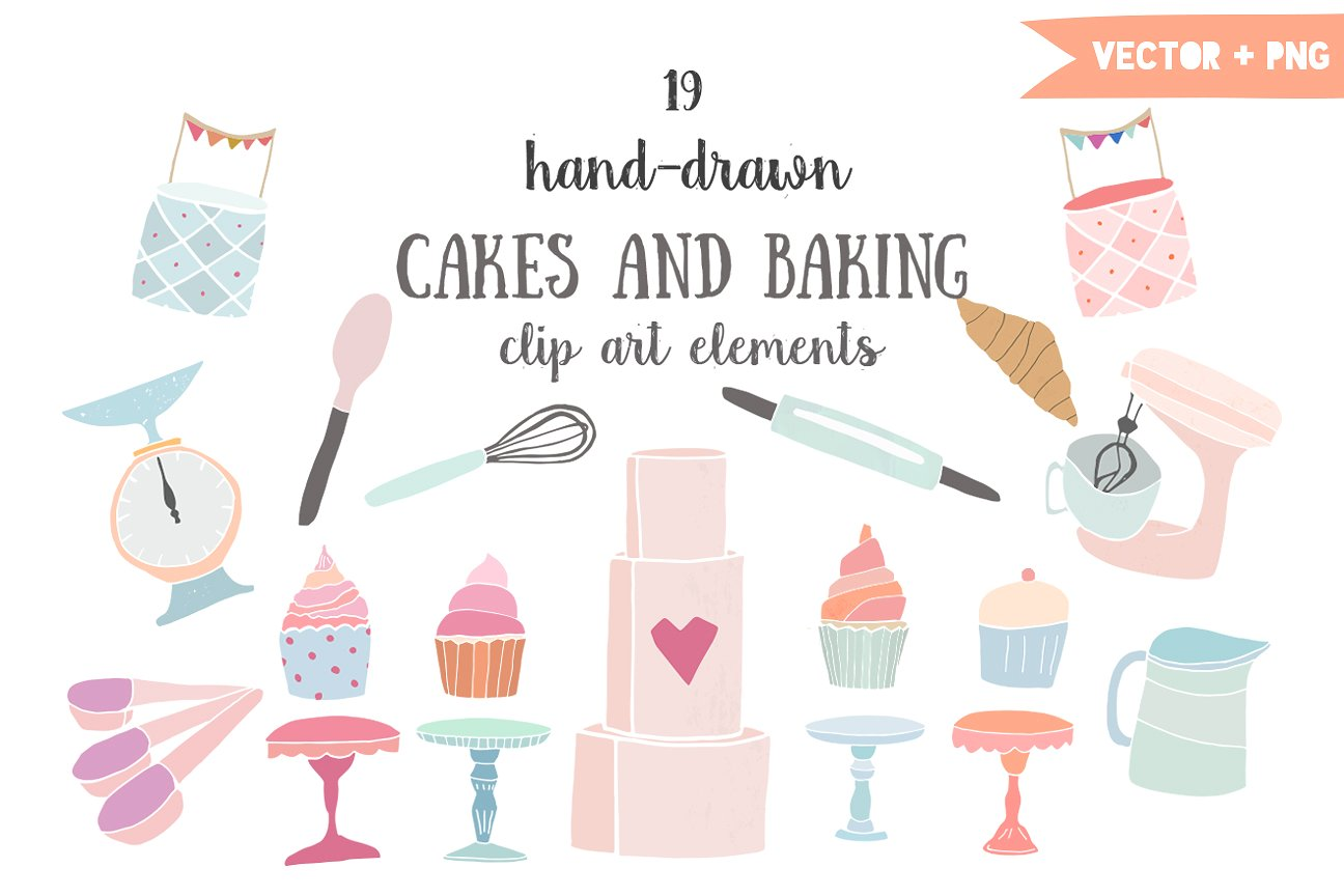 Bakery clipart rolling pin. Cakes and baking clip