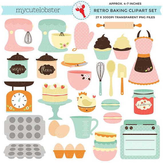 Retro set clip art. Baking clipart cake baking