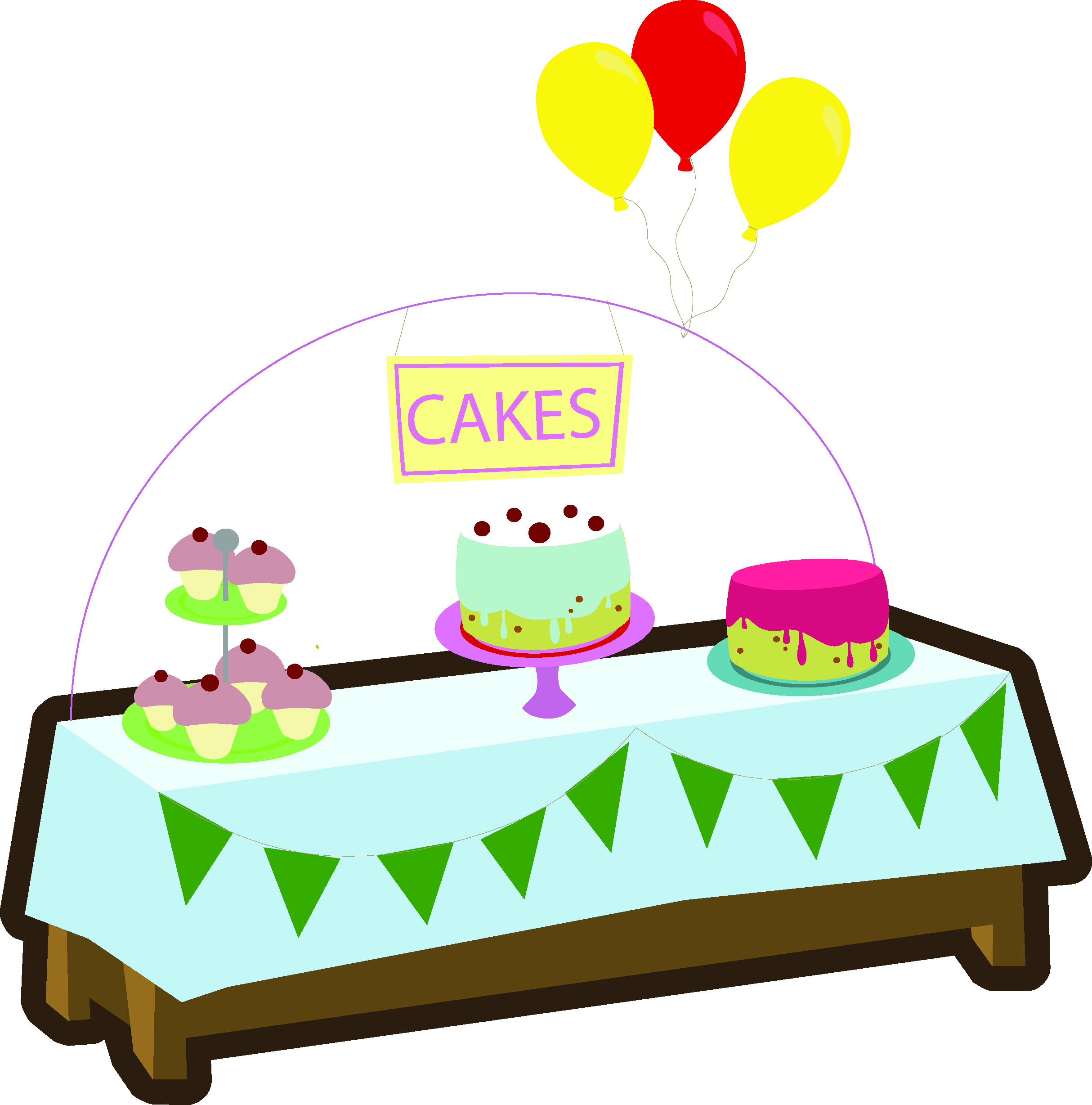 Baking clipart cake stall. Fete game graphics yellow