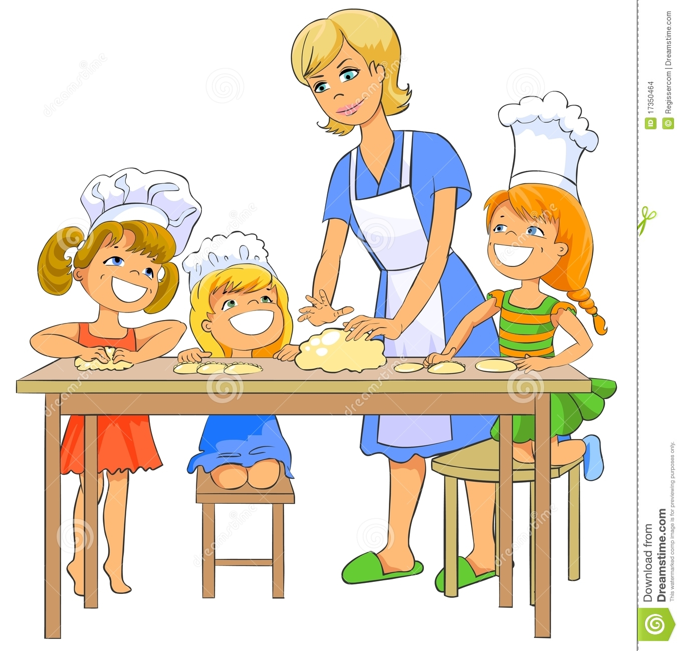 Mother and baby cooking. Baking clipart cartoon