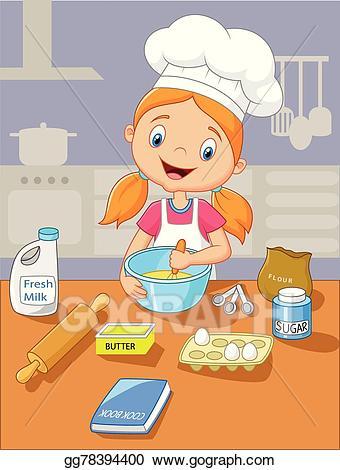 Baking clipart cartoon. Vector little girl