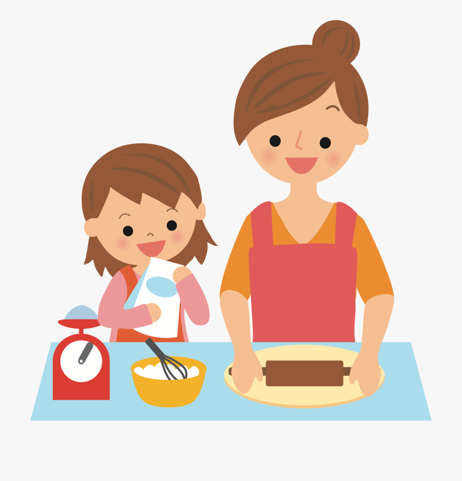 With mother big image. Baking clipart cartoon