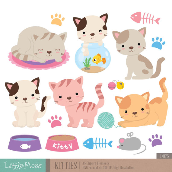 Baking clipart cat. Kitties digital and by