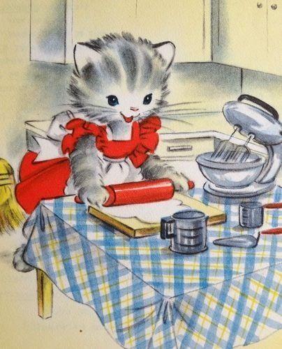 best vintage cats. Baking clipart cat