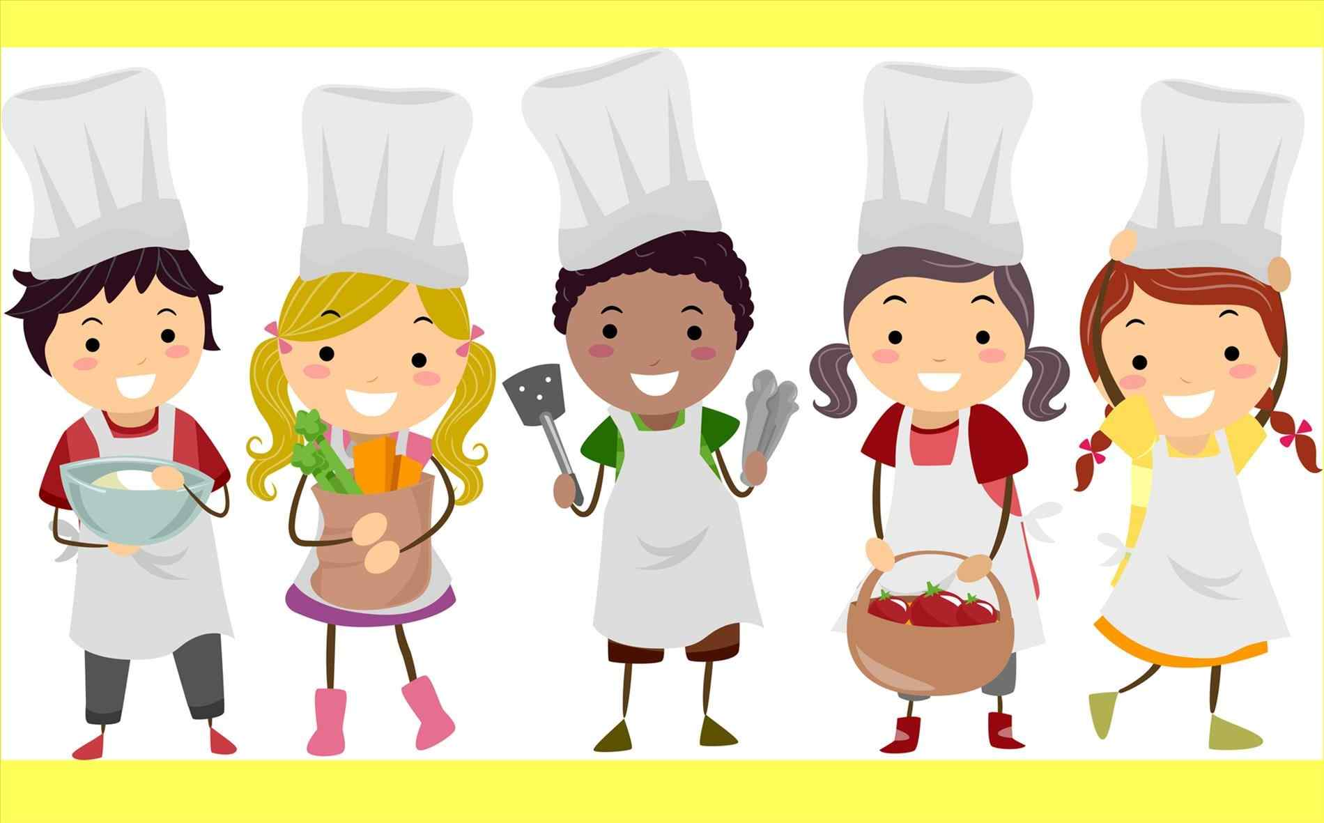 Baking clipart child. Kitchen kid pencil and