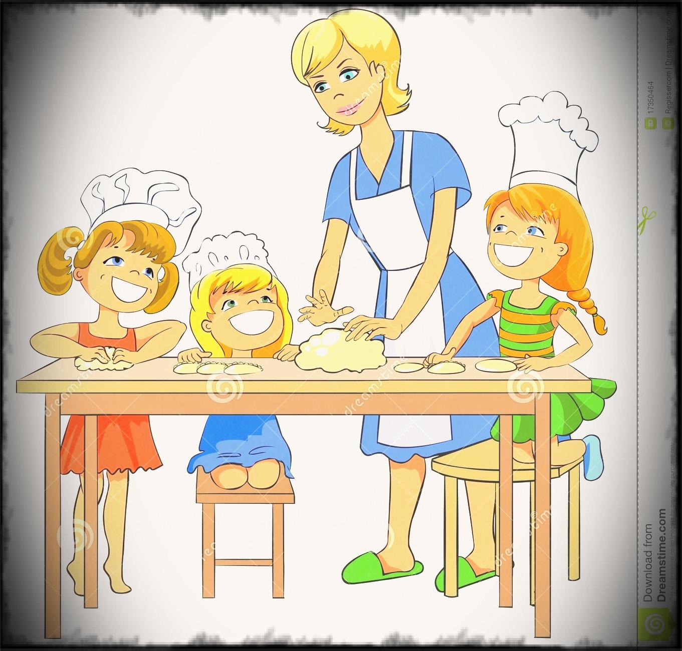 And father cooking with. Baking clipart child