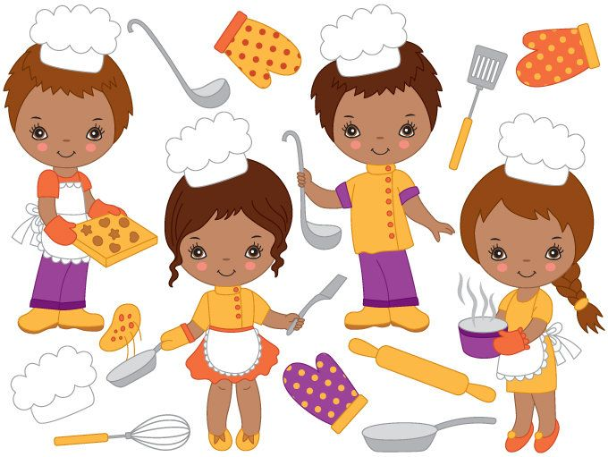 Baking clipart child. African american kids digital