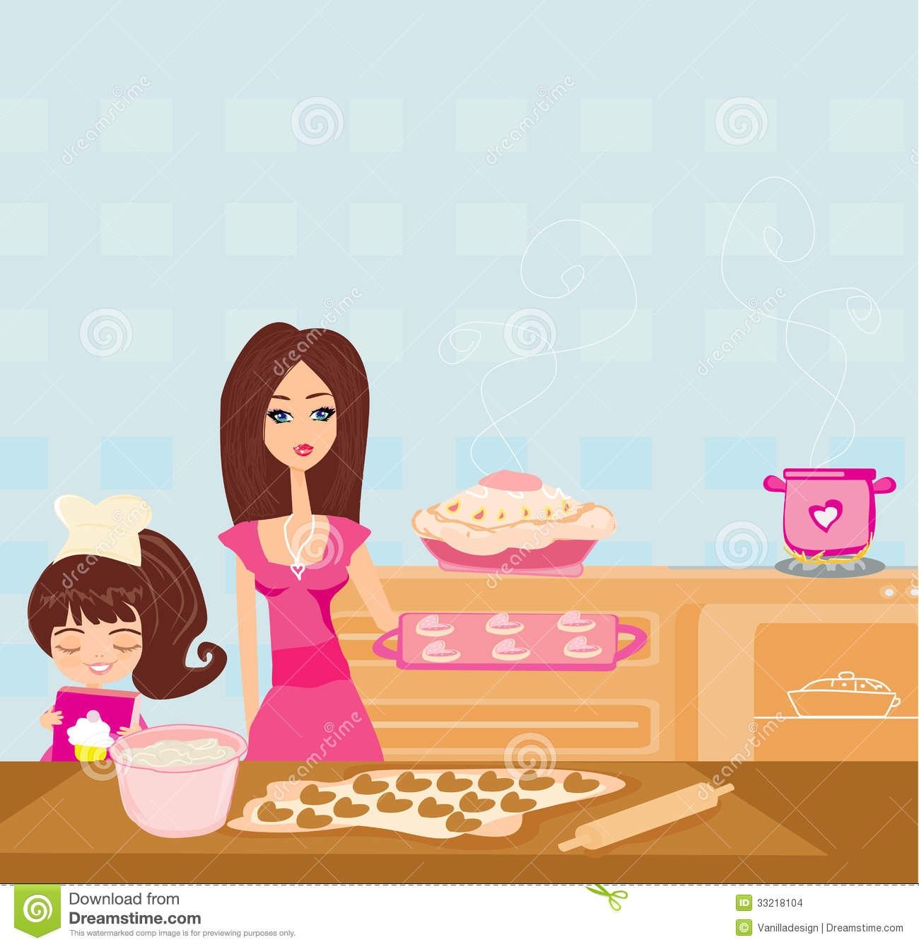 Baking clipart child. Mother daughter pencil and