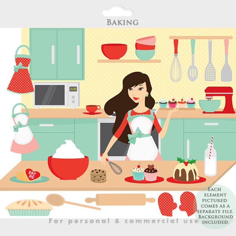 Baking clipart cooking baking. Clip art kitchen girl