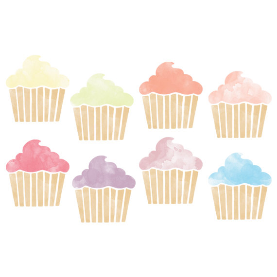 Planner baking clip art. Clipart cupcake watercolor
