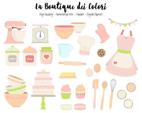 Pink and green digital. Baking clipart cute