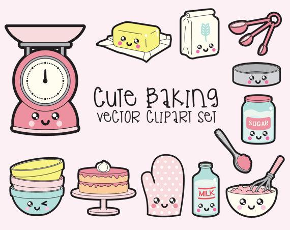Baking clipart cute. Premium vector kawaii