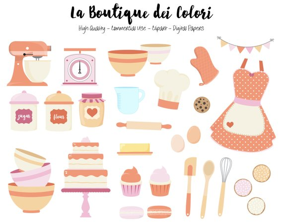 Baking clipart cute. Coral and purple digital