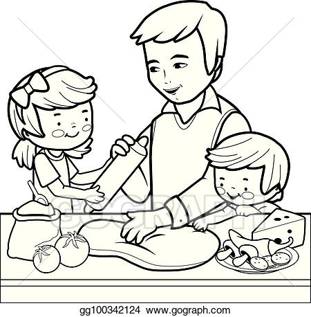 Vector father and children. Baking clipart dad