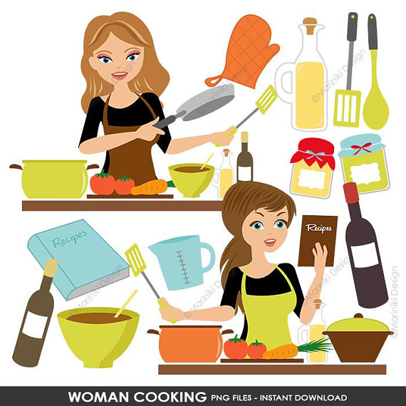 Baking clipart female. Cooking kitchen set woman
