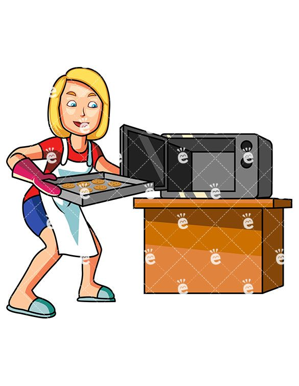 A blonde cook making. Baking clipart female