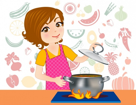Baking clipart female. Cook free vector download