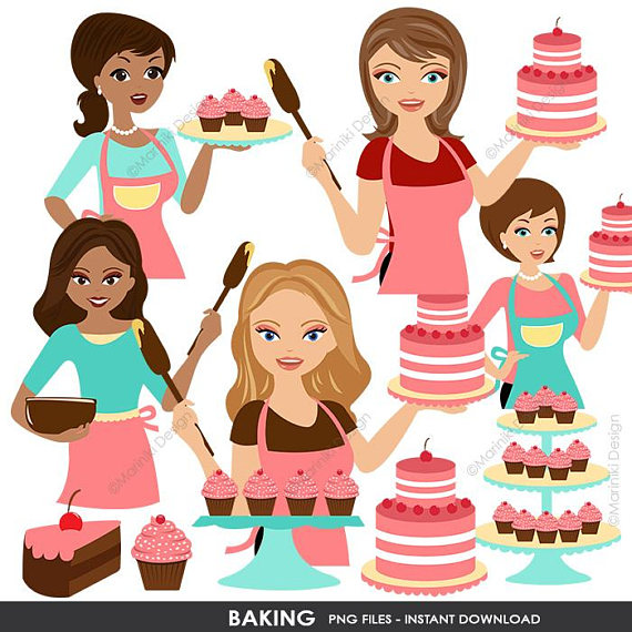 Baking clip art woman. Cookbook clipart baker
